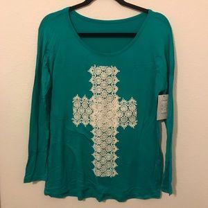Tops - Boutique • Blue crochet cross long sleeve top